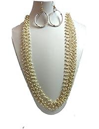 Glomi Ocean Golden Multi Strand White Pearl Necklace Set For Women And Girls(22 Cm).