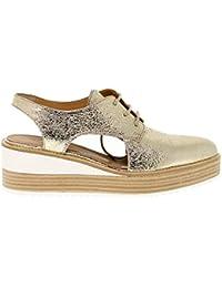64cbd5b7cbfd Janet sport Women s 41785 Gold Leather Lace-Up Shoes