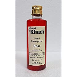 Khadi Rose massage Oil, 210 ml ( Almond oil + Olive oil + jojoba oil + sesam oil + Vitamin E oil )WITHOUT MINERAL OILS Made of 100 % Natural oils