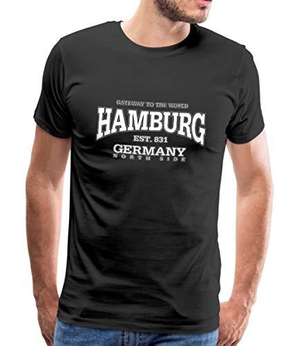 Spreadshirt Hamburg Est 831 Germany North Side Männer Premium T-Shirt, M, Schwarz