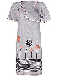 Happy Mama. Para Mujer Camisón flores premamá de embarazo y lactancia. 135p