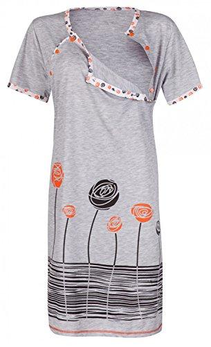 Happy Mama. Damen Umstands-Nachthemd mit Stillfunktion. Stillshirt Kurzarm,Grau/Schwarz/Weiss/Orange,EU 44 XL - Mutter Nachthemd