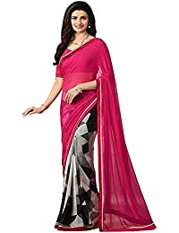 Women's Clothing Designer Party Wear Pink Georgette Wedding Saree With Blouse Piece (Georgette,Pink, Free Size)