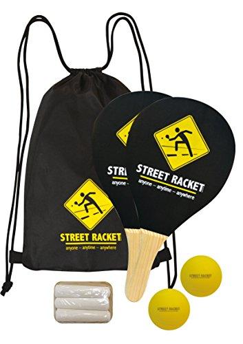 Schildkröt Street Racket Set, 2 Holzschläger, 2 Softbälle, Straßenmalkreide zur Spielfeldmarkierung, im Polyester-Carrybag, 970115