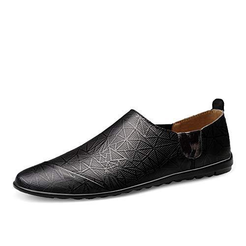 S-Fang Penny Herren Schuhe, Sommerschuhe, für Herren, Casual, Bootsschuh, Slipper auf Echtleder, elastische Bänder, rutschfeste Außensohle, atmungsaktiv, langlebig, Schwarz - Schwarz  - Größe: 41.5 EU - 13 Western-stiefel Größe Mädchen