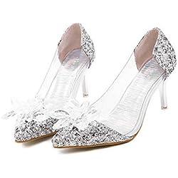 Onfly Bomba Transparente Tacón de gatito Sandalias De las mujeres Encantador Dedo del pie puntiagudo Flor de diamante Cenicienta Cristal Zapatos Estilete Zapatos De Vestir Zapatos de boda , silver , 39