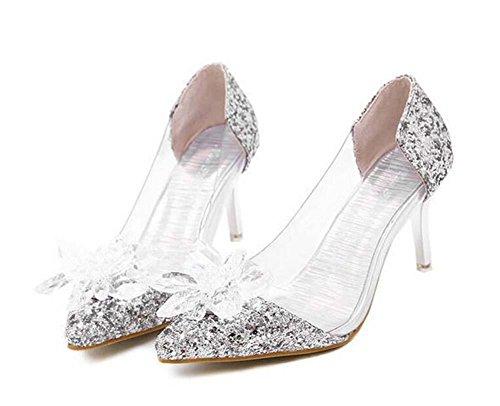 Onfly Pumpe Transparent Kätzchen Ferse Sandalen Damen Charmant Spitze Diamant-Blume Aschenputtel Kristall Schuhe Stilett Abendschuhe Hochzeit Schuhe , silver , 39 Diamant-skateboarding