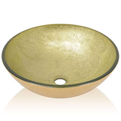 Festnight lavandino/lavabo da appoggio rotondo moderno in vetro temperato 42 cm dorato da bagno