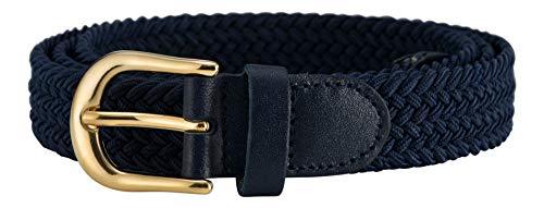 Streeze Damen elastischer geflochtener Stretchgürtel. 25 mm Breite gewebt mit Goldschnalle 5 Größen XS - XL (Marine, M)