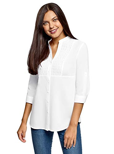 oodji Collection Donna Camicia in Cotone con Collo alla Coreana, Bianco, IT 46 / EU 42 / L
