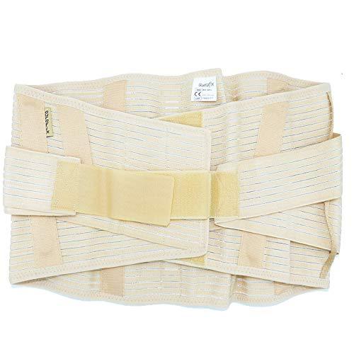Corsetto lombosacrale / supporto ortopedico in tessuto millerighe, steccato e rinforzato (per Uomo e Donna). Altezza 26 cm. Fasce in velcro per una regolazione ottimale.