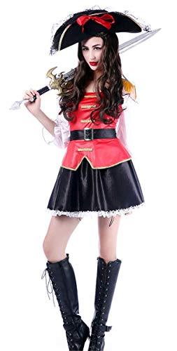Kostüm Sexy Piraten Erwachsene Für Lady - Emin Erwachsener Piraten Kostüm Damen Sexy Gothic Spitze Kleid Piraten Kostüm Kleid mit Gürtel Piraten-Lady Fluch der Karibik Captain Jack Kostüm Halloween Cosplay Karnavel Faschingkostüm Verkleidung