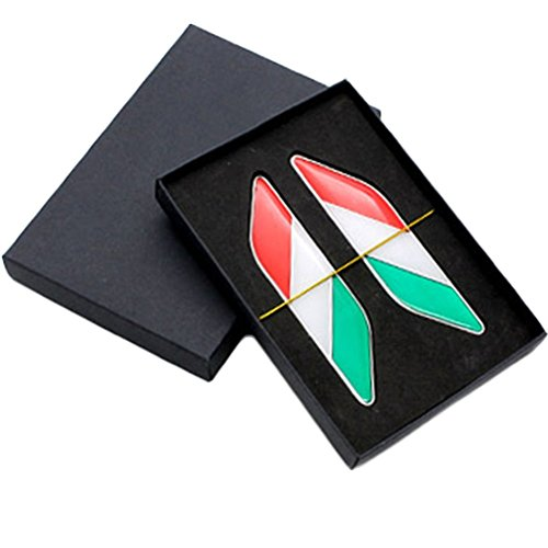 Demarkt Auto Aufkleber 3D Flagge Italienische Flagge Aluminium 2.8x11.3cm -