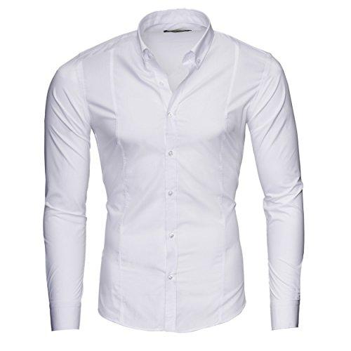 Merish Hemd Herren Langarmhemd Button-Down Kragen Business 204 Weiß