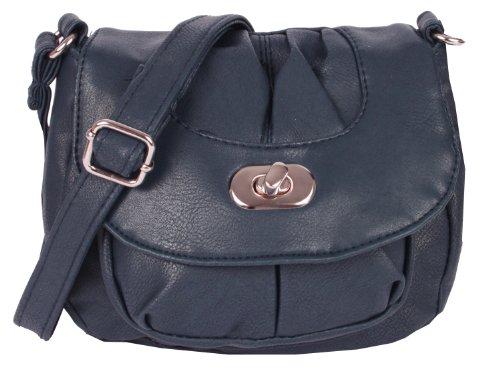 NEW BAGS Schultertasche Abendtasche Umhängetasche Überschlagtasche S mit Drehverschluss NB3039 Kunstleder 18cmx16cmx5cm (BxHxT) (Dunkelblau)