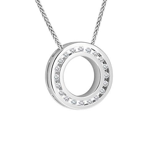 Diamond Line Damen - Halskette 585er Gold 20 Diamanten ca. 0,20 ct, weißgold