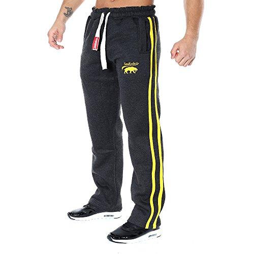 SMILODOX Jogginghose Herren | Trainingshose für Sport Fitness Gym Training & Freizeit | Sporthose - Jogger Pants - Sweatpants Hosen - Laufhose - Freizeithose Lang, Farbe:Anthrazit/Gelb, Größe:L (Gelb Körper Anzug)