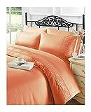 MA ONLINE Luxuriöses Charlotte Spitzen-Bettbezug-Set für Einzelbett, Doppelbett, King-Size, Super-King-Size-Bett, Terra Double, Doppelbett