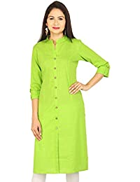 Etone Women's Straight Cotton Slub Front Slit Kurti (K051PG_L, Parrot Green, Large)