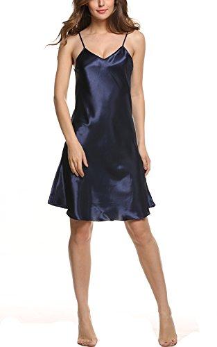 Avidlove Sexy Damen Negligees aus Satin Lange Straps Nachthemd Edles Sommer Nachtwäsche Nachtkleid Lingerie kleid Sleepwear Tops Dunkelblau