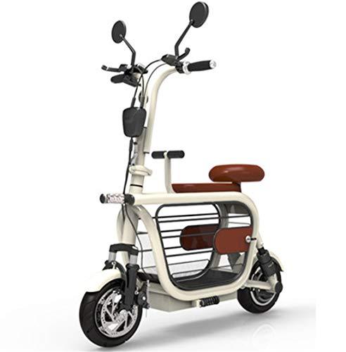 Creing Elektrischer Roller E-Scooter Faltbarer Power Scooter Mit Sitz Elektroroller StraßEnzulassung Cityroller 25 km/h,White