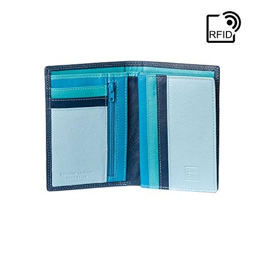 DUDU Portafoglio uomo Verticale a libro in Vera Pelle multicolore con Cerniera lampo zip e Porta carte Blu