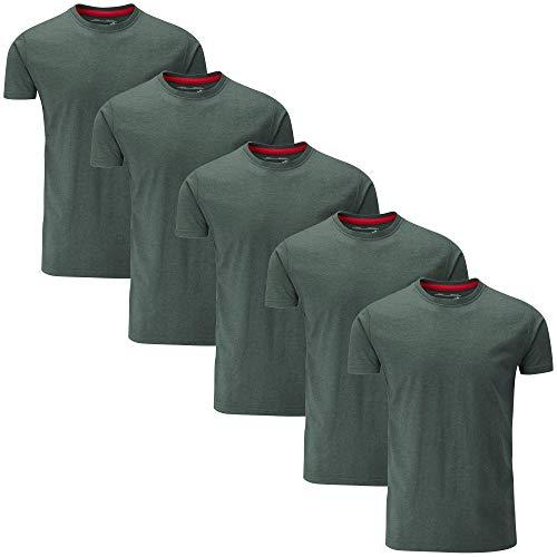 Charles Wilson Paquete 5 Camisetas Cuello Redondo Lisas (XXX-Large, Green Melange Type 19)