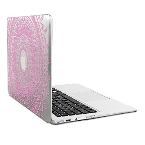 kwmobile Funda para Apple MacBook Air 13(a partir de mediados de 2011) Case protector duro para laptop - Carcasa delgada y transparente Diseño Sol hindú en rosa claro transparente