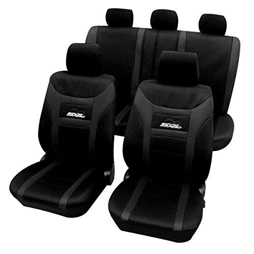 WOLTU AS7259sz Set Completo di Coprisedili Auto 5 Posti Seat Cover Protezioni Universali per Macchina Tessuto Poliestere Nero