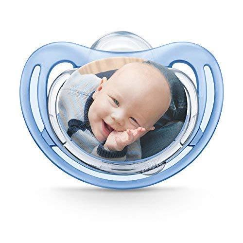 Succhietto NUK personalizzabile con fotografia, in silicone, privo di BPA, (da 6-18 mesi, blu), myNUK1017P
