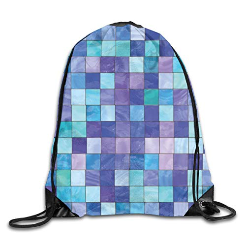 PPOOia Drawstring Backpacks Bags Daypacks,Stained Glass Inspired Design Checkered Pattern Dreamy Fantasy Colors Shades,5 Liter Capacity Adjustable for Sport Gym Traveling