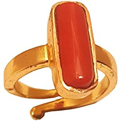 RS JEWELLERS Gemstones 5.58 Ratti Natural Certified CORAL moonga Gemstone Panchdhatu Ring ,Pukhraj Birthstone Astrology Ring
