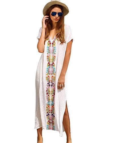 Mangotree Damen Boho Handstickerei Strandkleid Bikini Cover Up Weiß Bluse Sommerkleider Strandponcho Kittel Minikleid (Weiß#Lange)