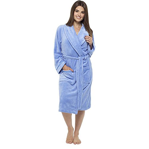 Style It Up Ladies Luxurious Soft Dressing Gown Hooded Plain Fluffy ...