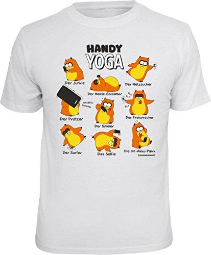 Tolles und witziges T-Shirt Set : T-Shirt Handy Yoga Farbe: weiss Weiß