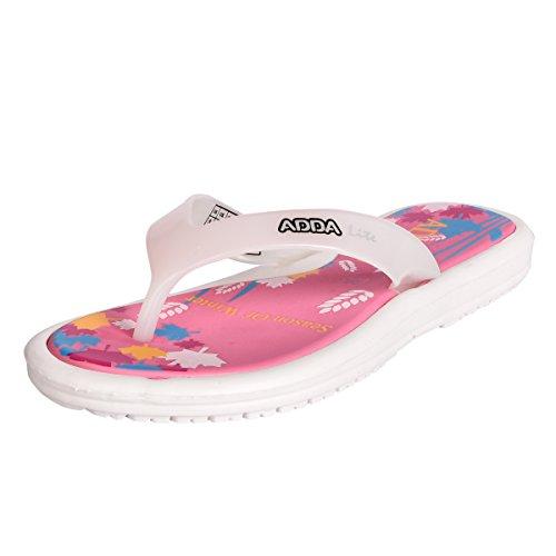 Adda Women's Pink White Rubber Slipper (mini_1)4UK