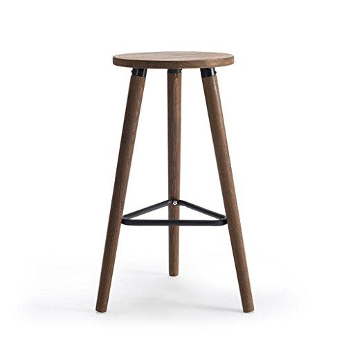 Hohe Rückenlehne Aus Bugholz Stuhl (HETAO Persönlichkeit Holz Hoher Stuhl Barhocker Runder Hocker Barhocker Haushalt Cafe Geschäft 42 * 42 * 66.5cm, carbonized Color, 32x32x66.5cm)
