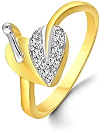 Classic Attractive Heart Diamond Studded Gold Plated Alloy & Brass Cz American Diamond Finger Ring For Women &...