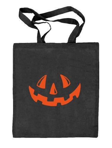 Shirtstreet24, Halloween - Kürbis Gesicht, Kostüm Pumpkin Stoffbeutel Jute Tasche, Größe: onesize,schwarz (Fun Kostüme Size Halloween)
