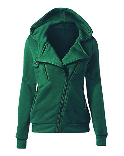Donna Felpa con Cappuccio Chiusura a Cerniera Giacca Hoodie Hoody Casual Sweatshirt Verde