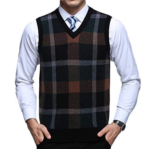 GKKXUE Herren Herbst und Winter Weste V-Ausschnitt Pullover Plaid lose Pullover Weste im mittleren Alter gestrickte Weste (Brown Plaid Button)