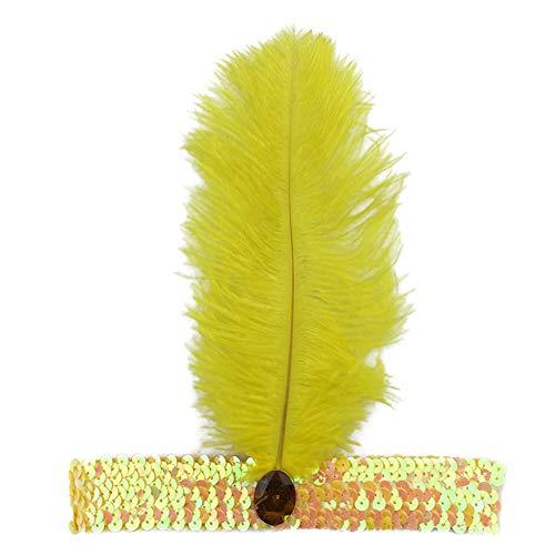 Yiwa Frauen Strauß Feder Haar Band Elastisch Fascinator Pailletten Chic Cosplay Indian Chief Haar Schleife Haarband Ornament - Indian Chief Kopfschmuck Kostüm