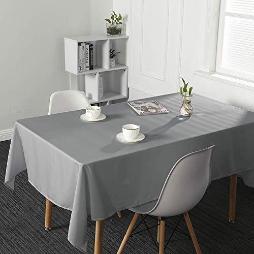 SUO AI TEXTILE-Tischdecke, wasserfest, abwischbar, länglich, für Küche und Garten, Textil, Silbergrau, 54x108inch(137x274cm) (Land Vorhänge Küche)