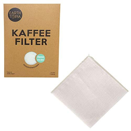 Earthtopia 3er Set Wiederverwendbare Kaffeefilter aus Stoff | 100% Hanf | Permanentfilter Mehrwegfilter Dauerfilter Filtertüten (3 Stück, passend für Chemex 6-10 Tassen FS-100)