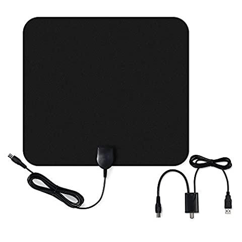 HDTV Antenna, VicTsing Ultra-Thin Amplified Digital Indoor HDTV Antenna, 50-Mile Range Signal Booster for Digital Freeview and Analog TV Signals, VHF / UHF, Window Aerial, Soft Design