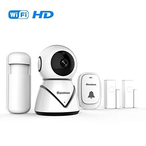 eLinkSmart Home Security-Camera-Kit Pan Tilt WiFi-Kamera mit 2 Tür- / Fenstersensoren und PIR-Detektor Drahtlose Türklingel Nachtsicht Zwei-Wege-Audio -