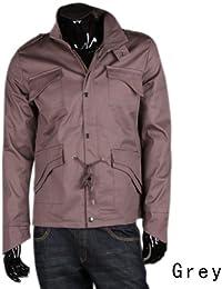 Men's Military Slim Fit Jacket Coat Rider Zip Button Hoody 3 Colors 3691