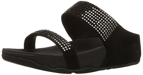 FitFlop Women's Flare Slide Black Leather Slippers - 5 UK image