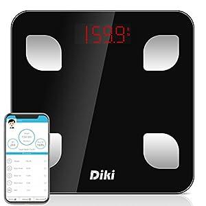 DIKI Personenwaage Bluetooth Digitale Körperwaage, Gewicht / BMI / Körperanalyse / BMR Wasser/ Muskel Smart Körperfett Skala, Auto-ON-Funktion, Baby Gewicht kalkulierbar, mit App für iOS und Android