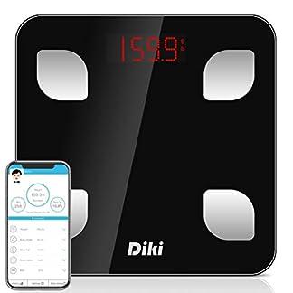 412eBoXmYrL. SS324  - Báscula de Baño Digital Bluetooth con APP por IOS y Android, DIKI Balanza Digital Baño de Alta Medición Precisa con Análisis Corporal de 8 Funciones, Registrar usuarios ilimitados, 5-150KG